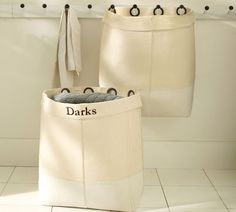"""canvas hanging hamper from Pottery Barn (28.5"""" wide x 9"""" deep x 23.5"""" high)"""