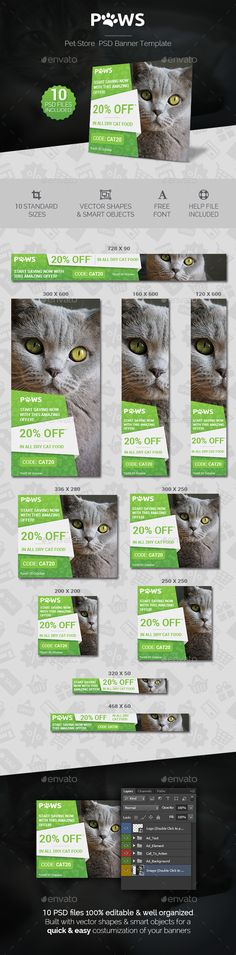 Paws - Pet Store PSD Banner Template - Banners & Ads Web Elements Download here : https://graphicriver.net/item/paws-pet-store-psd-banner-template/19271056?s_rank=68&ref=Al-fatih