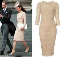 Copy Kate Middleton's Nude Lace Alexander McQueen Dress  Get Kate's Style: Lace Alexander McQueen look-a-like from the Queen's Jubilee service on Kate Middleton Style