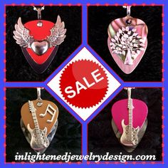 Sale Items on our Website! Guitar Pick Jewelry Makes Great Gifts or Treat…
