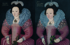 The sisters Mary and Catherine Bassett by studio of Custodis, 1603. Painted in the year of Queen Elizabeth's death, these two ladies wear ruffs tinted a vivid blue.The effect is startling and might not have met with the Queen's approval if she'd been on the ball.