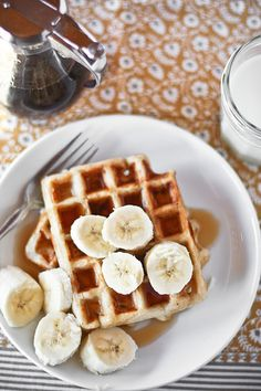 Waffles, banana and maple syrup - whats not to love... could add a scoop of vanilla ice cream...