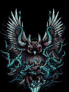 Heaven Shall Burn album artwork by Dan Mumford. Dan Mumford, Arte Black, Owl Artwork, Owl Wallpaper, Satanic Art, Dark Fantasy Art, Psychedelic Art, Grafik Design, Alien Tattoo