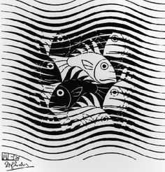 "Skot Foreman Gallery M. Escher ""Fish and Waves"" 1963 Woodcut 4 x 4 in 10 x 10 cm Initialed ""MCE"" in the plate lower left corner Bool 442 © The M. Escher Company B."