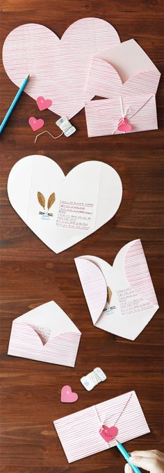 An envelope and card in one! The Pink Stripe Love Letter is a stationery set that comes with everything you need for 2 letters! Write a lovely message to a special someone on the inside of the heart shaped card then fold it into an envelope and seal Diy Paper, Paper Crafting, Papier Diy, Unique Cards, Stationery Set, Letter Stationery, Love Letters, Diy Cards, Diy Gifts