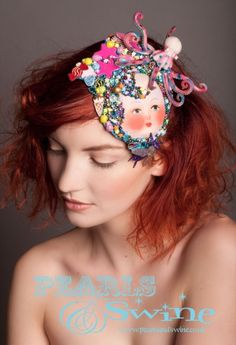 Dreamtime Dolly – Vintage Dollface Beaded Fascinator, Colourful, One of a Kind, Dreams, Nightmares, Wearable Art, Turqoise Blue Glitter, Vintage Dollface, Beads, Embroidered Ice Cream, Sweets, Puddings, Octopus, Fly, Pop Surreal, Over The Top OTT, Pearls and Swine, Pearls & Swine, Unusual, Bizarre, Zany, Bright, Hand Crafted, Milliner, Millinery, United Kingdom, UK, England, West Yorkshire, British, Eccentric, Handmade, Accessories Designer, Fascinator Maker, Artistic