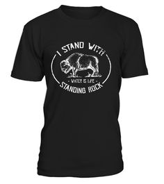 "Support the standing rock Sioux tribe in rejecting the Dakota access pipeline. Declare that ""water is life,"" alongside the standing rock protesters in this distressed, retro logo style t shirt. This graphic tee features a sacred buffalo, in commemoration of the symbolic, magical herd that appeared at Standing Rock."