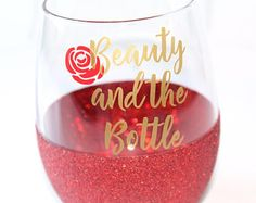 Disney Bridesmaid Glitter Wine Glasses // Sleeping Beauty Wine