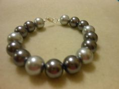 Bracelet Light and dark gray medium sized beads 7 by JewelrybyKN