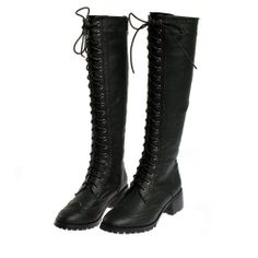 Zlyc Women's Vintage Lace Up Knee High Boots 67
