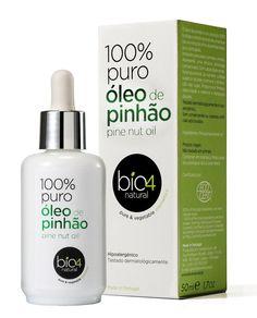 BIO4NATURAL Óleo de Pinhão - óleo facial antirrugas extraído através da extração a frio da semente do Pinheiro-Manso, contém 88% de ácidos grassos mono e polinsaturados que atuam com eficácia na firmeza e elasticidade de pele. Pode ser aplicado na região dos olhos. Vende online, lojas de cosméticos em Portugal. Preço Médio: €25. #cosmeticdetox #hidratantefacial #bio #antirrugas #natural #antiage #skincare # Anti-Wrinkle #bio4natural #crueltyfree #vegan