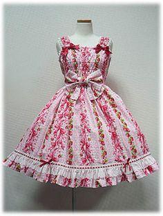 angelic pretty スウィートリボンストロベリィシャーリングジャンパースカート