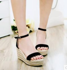 Women new fashion spring summer 8.5cm wedges high heels knitted sandals 3.5cm platform gladiator women's buckle shoes