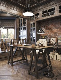 Home Office Industrial Style Decor.Work In Coziness: 20 Farmhouse Home Office Dcor Ideas . Cozy Industrial Living Room Design In Grey Tones DigsDigs. 37 Cool Attic Home Office Design Inspirations DigsDigs. Home and Family Industrial Home Offices, Rustic Home Offices, Vintage Home Offices, Industrial Office Design, Vintage Industrial Decor, Industrial House, Vintage Decor, Urban Industrial, Industrial Style