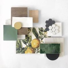 We're loving this lemony fresh flat lay from senior interior designer, Moodboard Interior, Palette Deco, Estilo Tropical, Material Board, Interior Design Boards, Style Deco, Tree Wallpaper, Floor Finishes, Floral Wall
