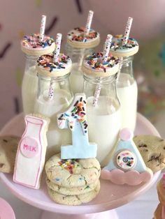 """Cookies and milk from a """"Donut"""" Grow Up 1st Birthday Party on Kara's Party Ideas 