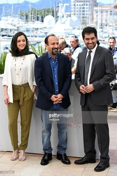 Taraneh Alidoosti, director Ashgar Farhadi and Shahab Hosseini attend 'The Salesman (Forushande)' Photocall during the 69th annual Cannes Film Festival at the Palais des Festivals on May 21, 2016 in Cannes, France.