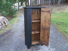 The cupboard shown has been finished in a dark walnut stain and painted Black. We use only Old Village Paint on our pieces. This Country Cupboard is available in other colors. | eBay!