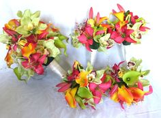 tropical bridal bouquets | Tropical bridal bouquets matching boutonnieres destination wedding ...