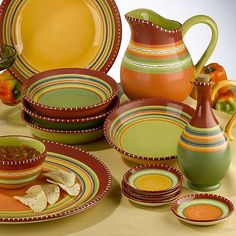 Find it at the Foundary - Hot Tamale soup bowls, platters, etc. I LOVE THE COLORS!