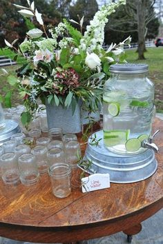 Gorgeous Glass :: Vintage Inspiration Loving the new mason jar inspired water dispenser/galvanized stand combo. Photo by Ace Photography Mason Jar Drinks, Bar Drinks, Mason Jar Drink Dispenser, Beverages, Glass Water Dispenser, Wedding Table, Rustic Wedding, Tree Wedding, Wedding Vintage