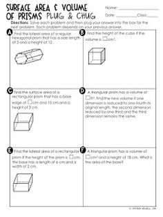 Surface Area & Volume of Prisms Unit Geometry Activities, Geometry Worksheets, Math Teacher, Math Classroom, Maths, Teacher Tips, Volume Worksheets, Shapes Worksheets, Special Education Math