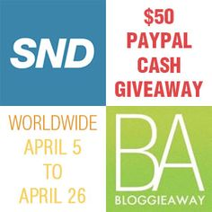 $50 Paypal Cash Giveaway ~ Ends 4/26
