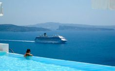 Santorini island luxury hotels pool eternal view blue sea sky volcanoes cruise ship best place in the world Greece trip travel vacations