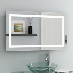 Tidwell LED Coastal Lighted Vanity Mirror - All For House İdeas Lighted Wall Mirror, Mirror Wall Bathroom, Small Bathroom Decor, Mirrors For Sale, Mirror Wall, Lighted Vanity Mirror, Bathroom Mirror, Frameless Vanity Mirrors, Modern Contemporary Bathrooms
