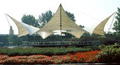 Frei Otto, le dernier Pritzker / Pavillon de danse a l'Exposition fédérale du Jardin, 1957, Cologne, Allemagne