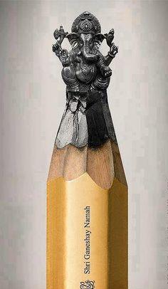 Ganesh pencil lead carving
