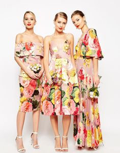 I like this print and colour scheme for dresses.  ASOS printed floral dresses – midi deep bardot pencil, midi pinny, and maxi pleated with angel sleeve