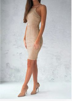 Women Suede Dresses Summer Sexy Strapless Hollow out Backless Solid Midi Dress Sleeveless Bodycon Evening Party Dress Vestidos Sexy Dresses, Beautiful Dresses, Casual Dresses, Short Dresses, Sleeve Dresses, Elegant Dresses, Pretty Dresses, Sexy Back, Lace Up Bodycon Dress