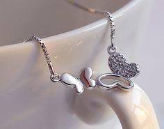 Crystal Butterfly Pendants Necklace