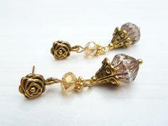 gold color earrings with Czech beads (S-486d) van Dome's Design op DaWanda.com