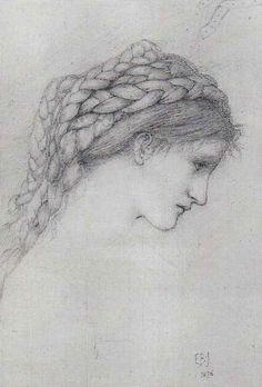 Sir Edward Coley Burne-Jones, 1876,  Study of a Girl with braided hair
