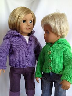 knitted dolls Ravelry: Spring Hoodie for 18 inch American Girl Dolls by Janet Longaphie - free pattern Boy Doll Clothes, Knitting Dolls Clothes, American Doll Clothes, Crochet Doll Clothes, Knitted Dolls, Doll Clothes Patterns, Doll Patterns, American Dolls, Crochet Dolls