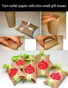 Toilet paper rolls gift package idea