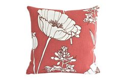 I love the huge poppy flower on this pillow. It is an easy way to add a focal point to any room. Fabrics: Front- This heavy-weight linen
