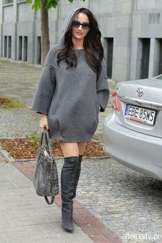justyna steczkowska - Szukaj w Google Street Style, Boho, Sweaters, Google, Dresses, Fashion, Skinny, Fancy Dress, Sweater Dress Outfit