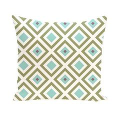 E by Design Squared Decorative Pillow Green / Aqua Polyester - PGN126GR19BL3-26