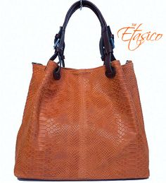 Orange Etasico Italian Leather Handbag Snakeskin Print Iris Bag $185 on SALE $129 #EtasicoIris