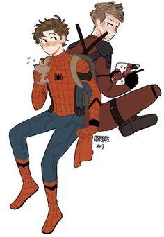 Photo|| Aawww teen spideypool is adorable Marvel Funny, Marvel Memes, Marvel Dc Comics, Marvel Avengers, Spideypool, Superfamily, Deadpool X Spiderman, Spiderman Art, Marvel Heroes