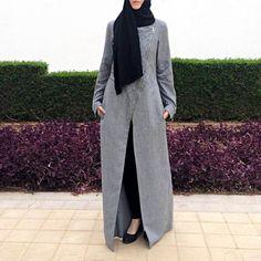 Quilted Abaya - Gray / Dubai Abaya / Long Line Jacket / Plus Size Gray Abaya / Biker Style Long Jacket / Abaya with Zipper / Gray Abaya Street Hijab Fashion, Abaya Fashion, Modest Fashion, Modest Clothing, Fashion Clothes, Women's Fashion, Fashion Outfits, Fashion Trends, Disney Wedding Dresses