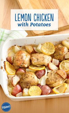 This Lemon Chicken with Potatoes dish is easy to prepare and comes together quickly. Simply brown the chicken thighs, toss all the ingredients in a pan, and you\'re good to go!