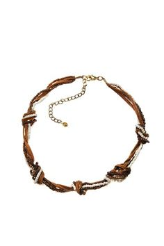 Bead and suede knotted necklace