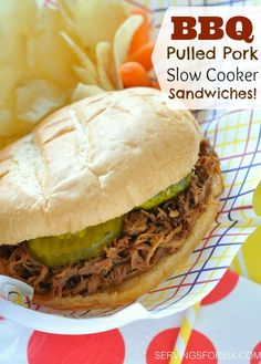 BBQ Pulled Pork Slow Cooker Sandwiches! #slowcooker #bbqpulledpork #dinner #recipes