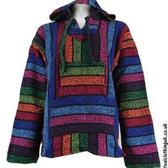50f697b81d6 Mexican Jerga Baja Hooded Hippy Festival Top Multicolour Stripes XXLarge - Mystical  Mayhem Hippy Clothing and Gifts
