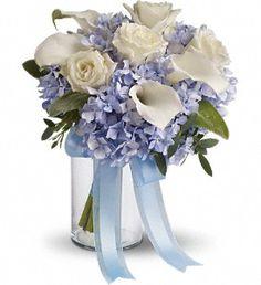 Blue hydrangea, white callas and roses