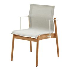 Gloster Sway Teak Stacking Chair with Arms - White - Seagull    Occa Home